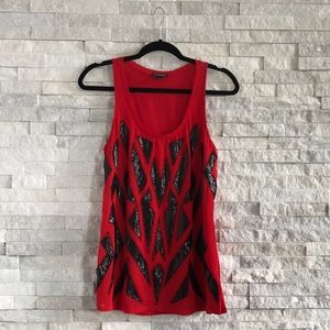 Express Red Tank Top with Black Sequin Design